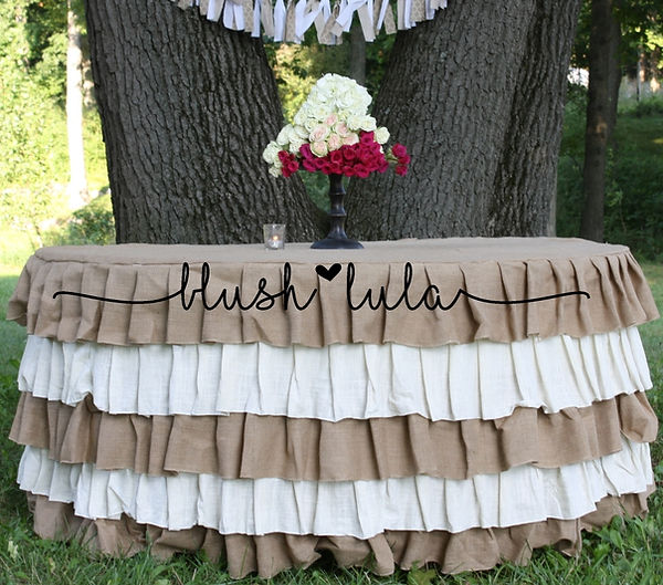 blush LULA Couture Party Linen Rustic Wedding Burlap Ruffles Tablecloth