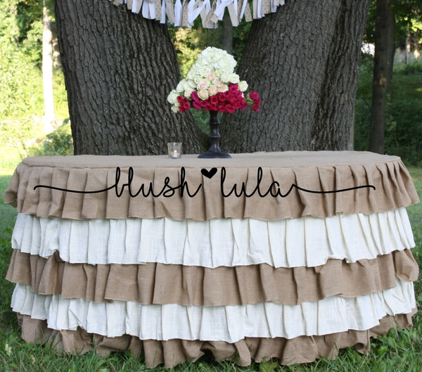 blush LULA Couture Party Linen Rustic Wedding Burlap Ruffles Tablecloth