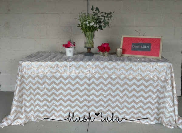 Chevron Sequin Tablecloth Overlay White Champagne Gold Silver Buy Now at blush LULA Couture Linens