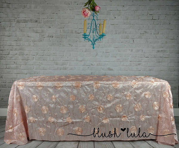 blush LULA Couture Linens Wedding Bridal Blush Pink Rosette with Sequin on Taffeta Tablecloth