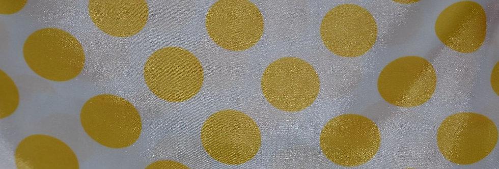 Polka Dot Yellow on White Tablecloth