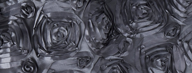 Satin Ribbon Charcoal Blue Rosette Tablecloth