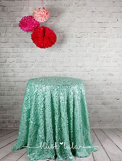 Mint Square Sequin Overlay or Tablecloth for Wedding or Party at blush LULA