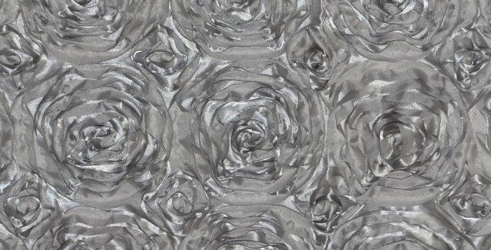 Satin Ribbon Gray Rosette Tablecloth