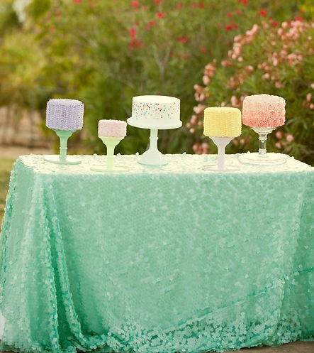 Mint Square Sequn Tablecloth Overlay Buy Now at blush LULA Couture Linens
