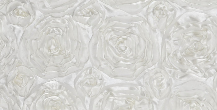 Satin Ribbon Ivory Rosette Tablecloth