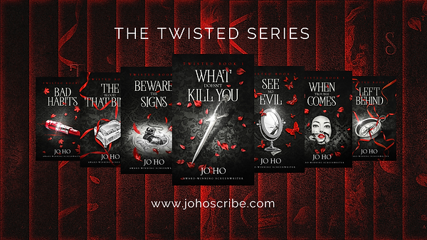 Twisted series banner 7 books on red bac