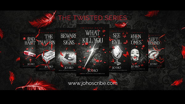 Twisted series banner 7 books on red fea