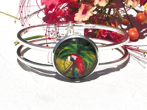 Bracelet perroquet aras rouge