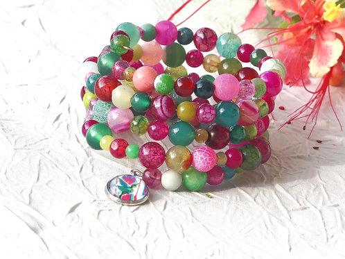 Bracelet perles fuchsias et vertes