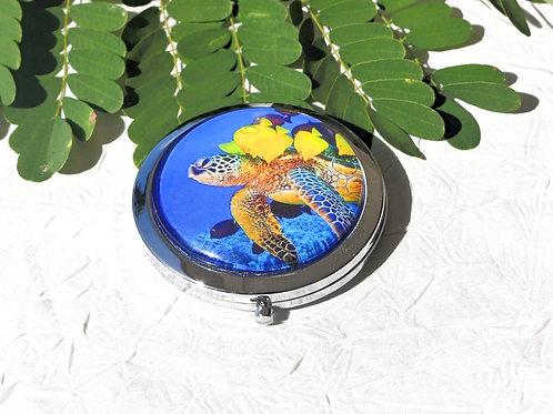Miroir de poche tortue bleue