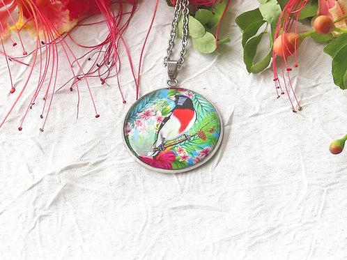 Sautoir collier oiseau rétro