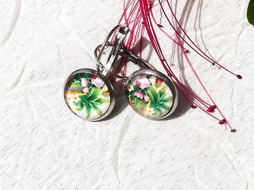 Petites boucles fleurs tropicales