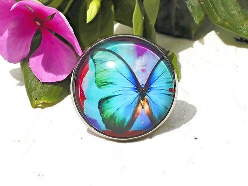 Bague papillon turquoise