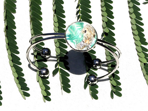 Bracelet jonc jaguar feuille