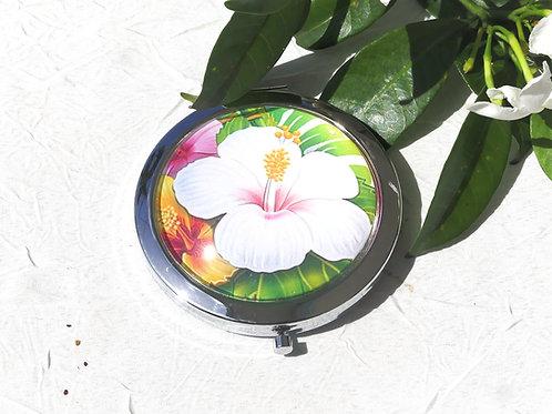 Miroir fleur blanche feuillage