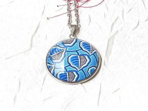 Sautoir collier wax bleu