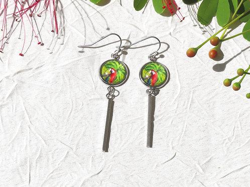 boucles d'oreille pendantes perroquets