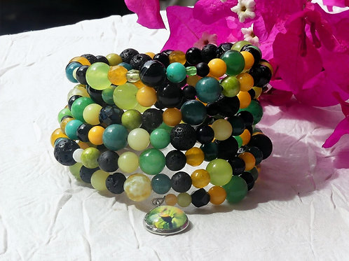 Bracelet perles jaunes vertes noires