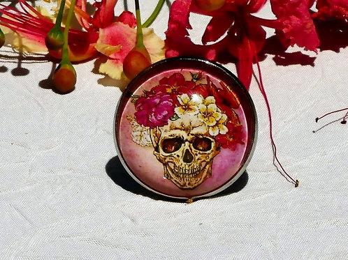 Bague tête de mort fleurie