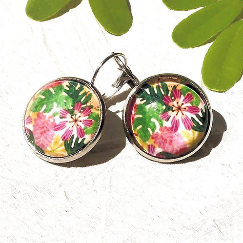 Boucles d'oreille fleurs roses