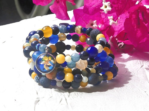 Bracelet perles bleus jaunes