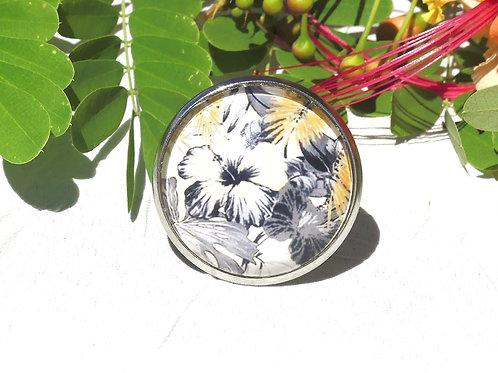 Bague fleur ibiscus beige grise