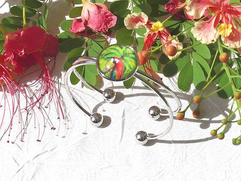 Bracelet jonc perroquet tropical