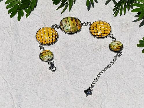 Bracelet chaine jaune ocre
