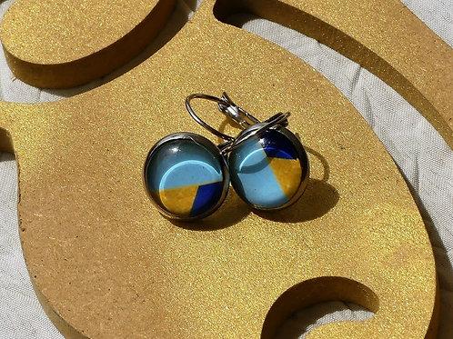 Ptt boucles d'oreille bleues dorées