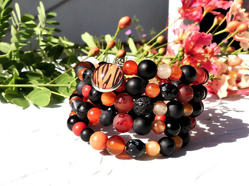 Bracelet manchette perles noires marrons