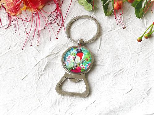 Porte-clefs décapsuleur oiseau rétro