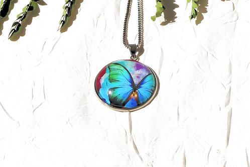 Collier papillon turquoise