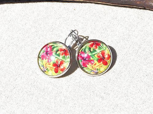 Boucles d'oreille fleurs hibiscus