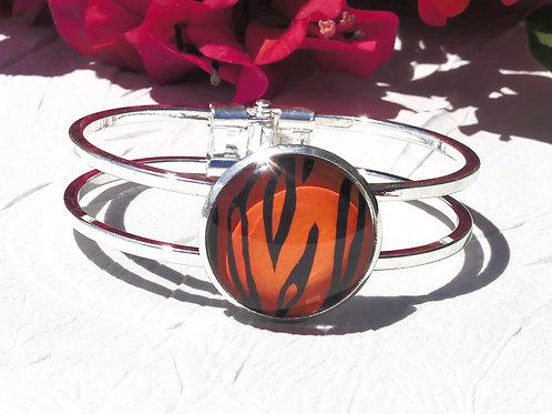 Bracelet zébré orange et noir