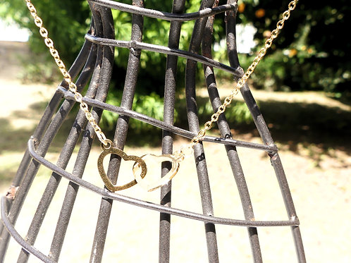 Collier acier double cœur