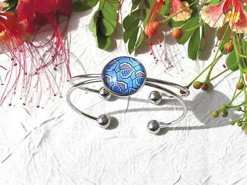 Bracelet jonc wax bleu