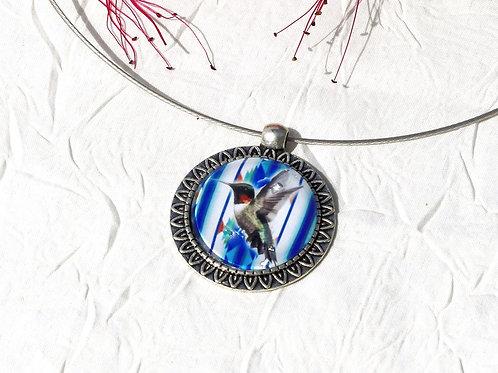 Collier colibri bleu
