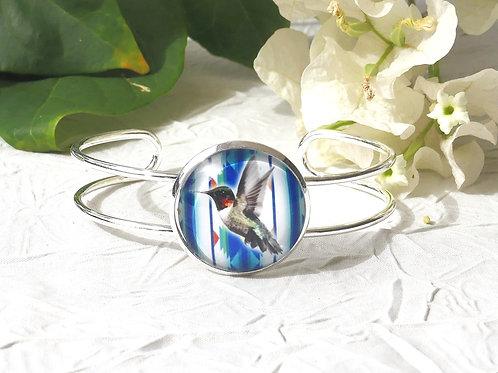 Bracelet cabochon colibri bleu