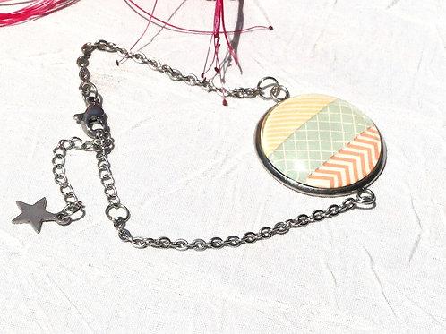Bracelet chaîné couleurs pastelles