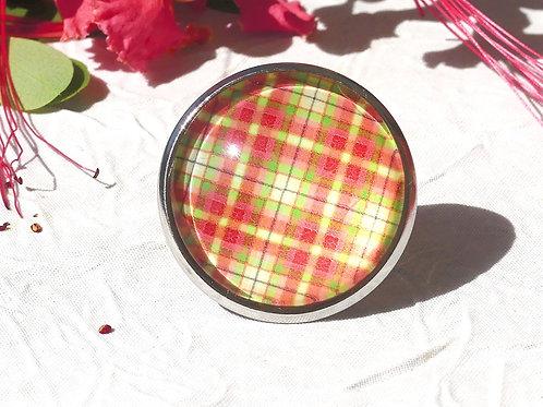 Bague réglable madras rouge vert jaune