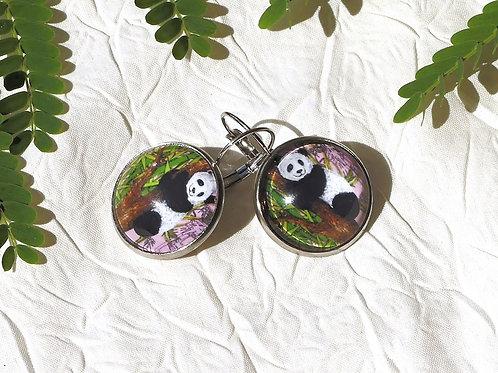 Boucles d'oreille panda