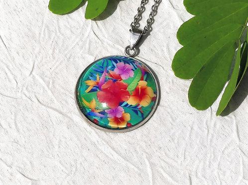 Collier fleurs tropicales