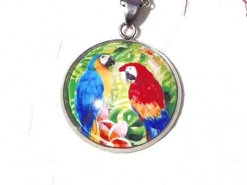 Collier sautoir 2 perroquets