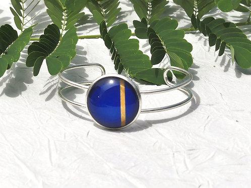 Bracelet bleu, marine, doré