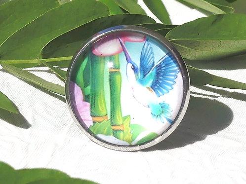 Bague fleur bambous colibri