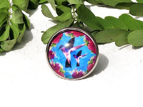 Grosse bague colibris violets
