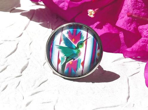 Bague colibri turquoise rose