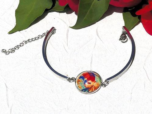 Bracelet fleurs oranges