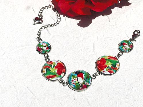 Bracelet oiseaux fleurs